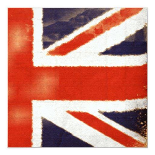 Invitación de encargo de Union Jack del vintage
