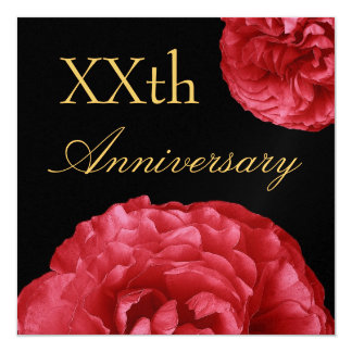 Invitación de encargo del aniversario - rosas