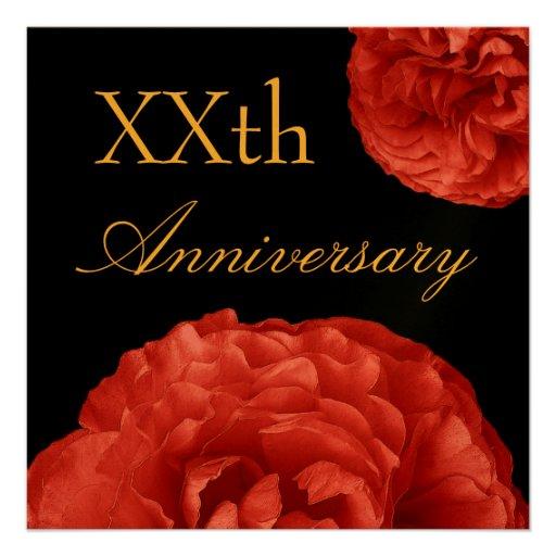 Invitación de encargo del aniversario - rosas ROJO
