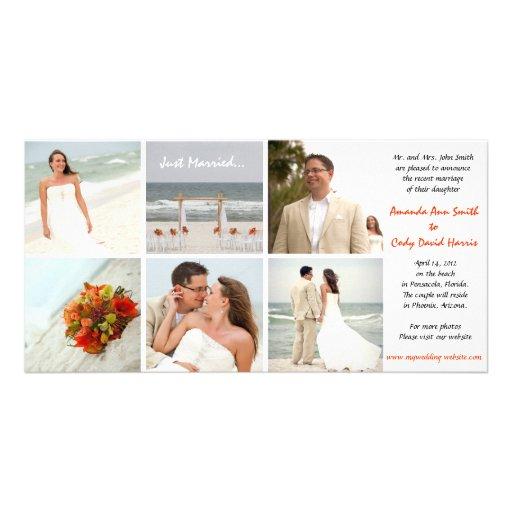 Invitación de encargo del boda de la foto tarjeta personal con foto