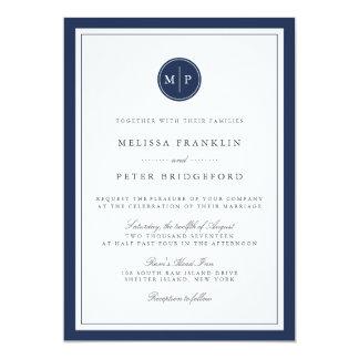 Invitación de encargo del boda del monograma del