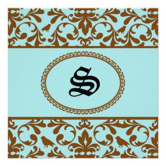Invitación de encargo del boda del monograma del d