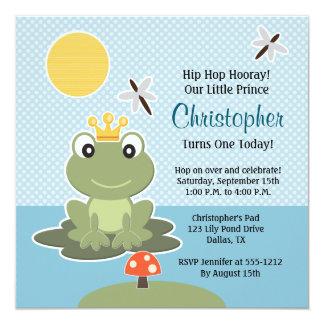 Invitación de encargo del cumpleaños de la rana