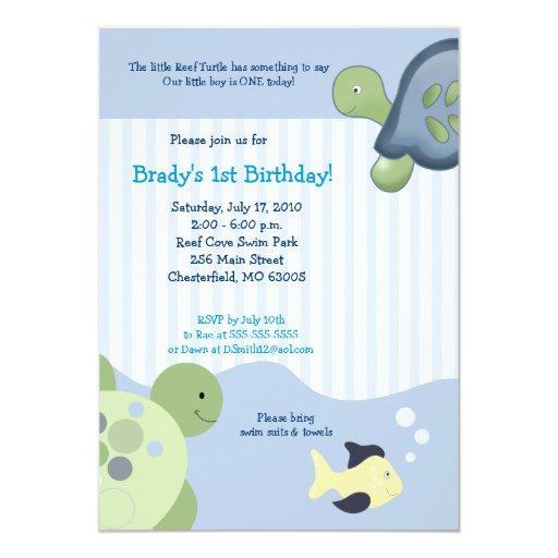 Invitación de encargo del cumpleaños de la TORTUGA Invitación 12,7 X 17,8 Cm