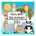 Invitación de encargo del cumpleaños de los animal