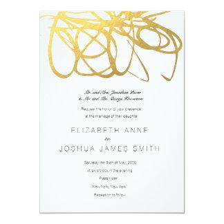 Invitación de encargo del efecto del oro del boda