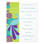 Invitación de encargo floral del boda del pavo rea