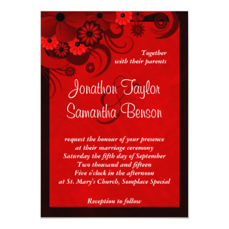 Invitación de encargo gótica floral rojo oscuro