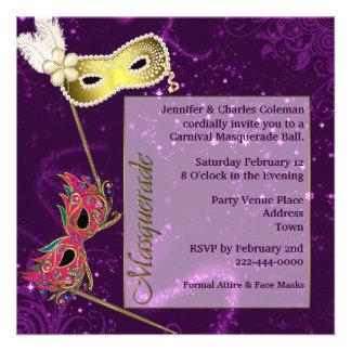 Invitación de encargo púrpura festiva de la bola d