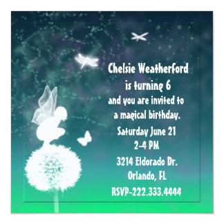 Invitación de hadas de la fiesta de cumpleaños de invitación 13,3 cm x 13,3cm