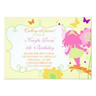 Invitación DE HADAS del cumpleaños de la FIESTA DE