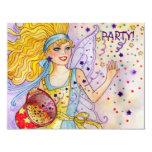 Invitación de hadas del fiesta del confeti invitación 10,8 x 13,9 cm