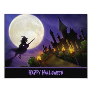 Invitación de Halloween de la bruja y de la casa