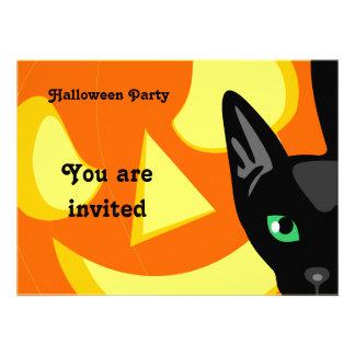 Invitación de Halloween de la calabaza del gato