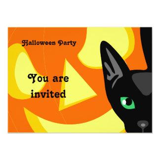 Invitación de Halloween de la calabaza del gato Invitación 13,9 X 19,0 Cm