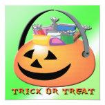 Invitación de Halloween de la calabaza del truco o Invitación 13,3 Cm X 13,3cm