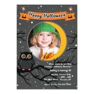 Invitación de Halloween de la foto de Hoo Hoo