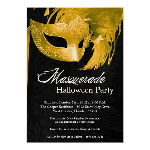 invitación de Halloween de la mascarada del