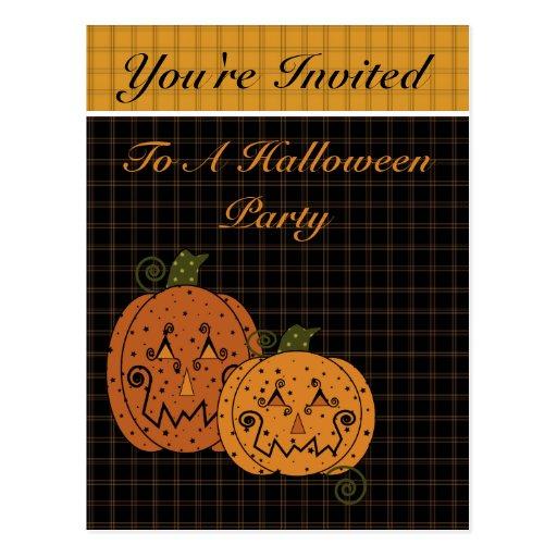 Invitación de Halloween de las calabazas de la Tarjetas Postales