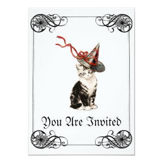 Invitación de Halloween del gatito del vintage Invitación 11,4 X 15,8 Cm
