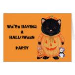 """Invitación de Halloween del gato de la """"calabaza""""  Tarjetón"""