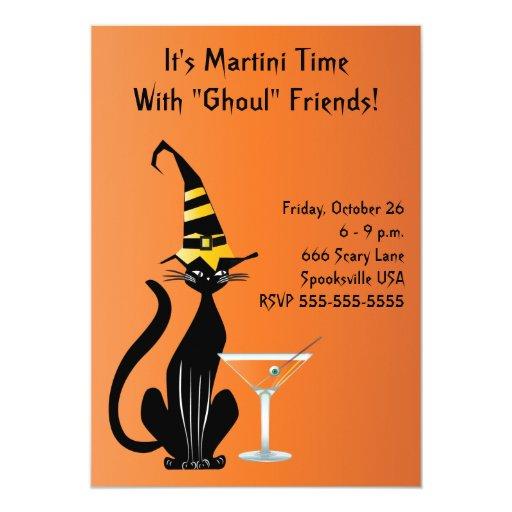 Invitación de Halloween del gato de las brujas