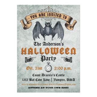 Invitación de Halloween del palo de vampiro del vi