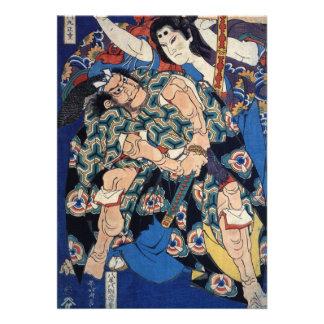 Invitación de Kusunoki Tamonmaru de Hokusai