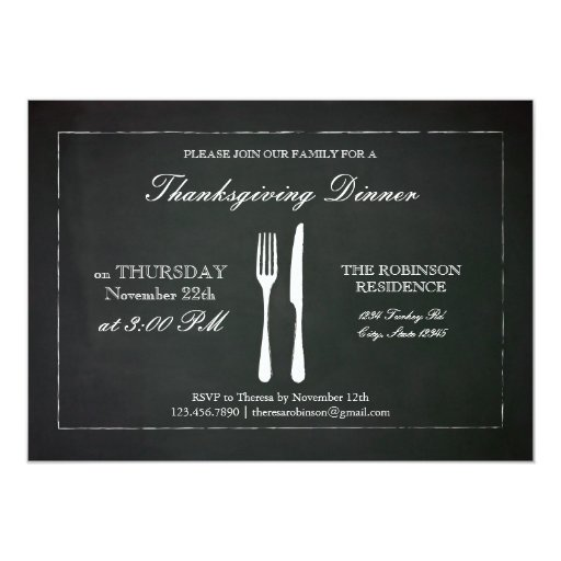 Invitación de la acción de gracias de la pizarra invitación 12,7 x 17,8 cm