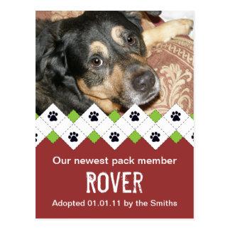 Invitación de la adopción del perro/del perrito postal