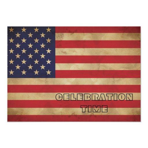 Invitación de la bandera americana invitación 12,7 x 17,8 cm