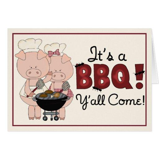 Invitación de la barbacoa del cerdo tarjeta de felicitación