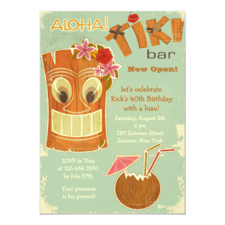 Invitación de la barra de Tiki Invitación 12,7 X 17,8 Cm