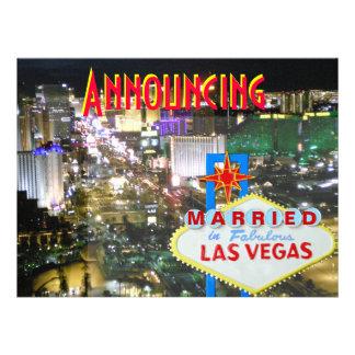 Invitación de la boda de Las Vegas con la recepció