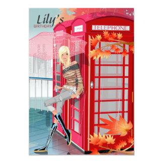 Invitación de la cabina de teléfono invitación 12,7 x 17,8 cm