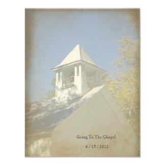 Invitación de la capilla del vintage de la invitación 10,8 x 13,9 cm