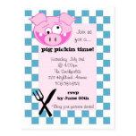 Invitación de la carne asada del cerdo tarjetas postales