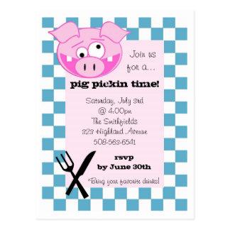 Invitación de la carne asada del cerdo postal