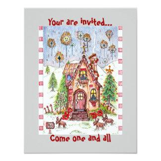 invitación de la casa del caramelo del navidad