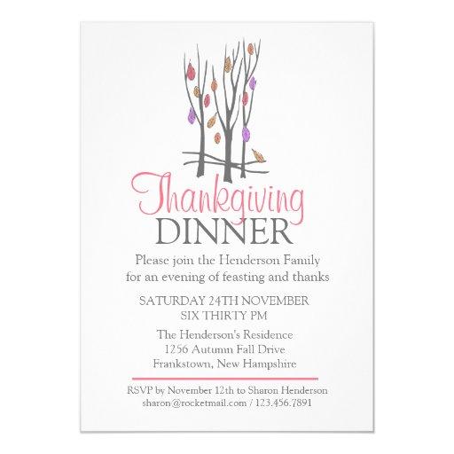 Invitación de la cena de la acción de gracias de