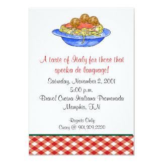 Invitación de la cena de los espaguetis