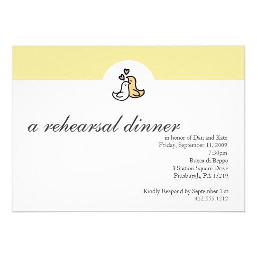 Invitación de la cena del ensayo