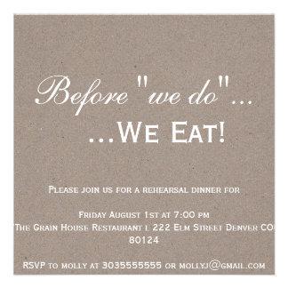 Invitación de la cena del ensayo de Kraft