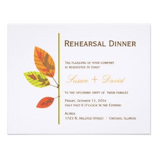 Invitación de la cena del ensayo de las hojas de o