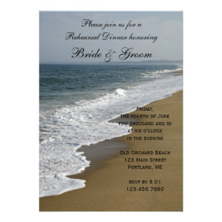 Invitación de la cena del ensayo del boda de playa