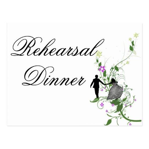 Invitación de la cena del ensayo del boda floral tarjetas postales