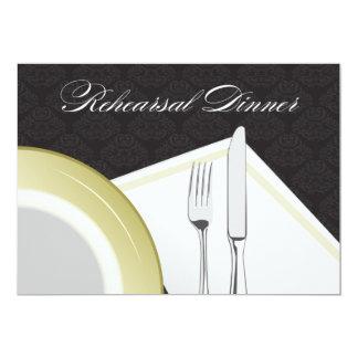 Invitación de la cena del ensayo del cubierto