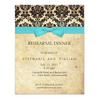 Invitación de la cena del ensayo del damasco del