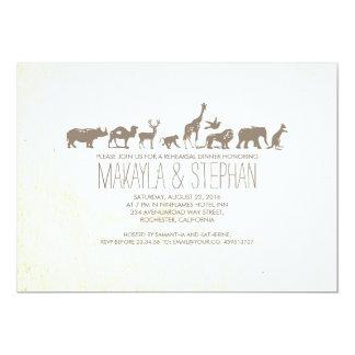 Invitación de la cena del ensayo del safari del invitación 12,7 x 17,8 cm