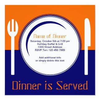 Invitación de la cena del naranja y del azul de la
